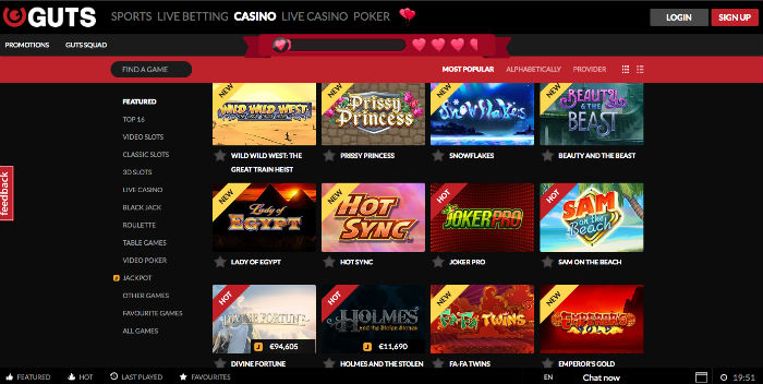 Guts online casino review gambling probability lesson plan